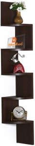 DriftingWood Zigzag Shape Corner Wooden Wall Shelf