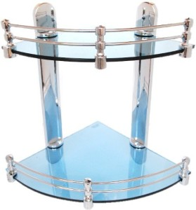 Royal Indian Craft Royal BLUE Color Double Corner Multipurpose Glass Wall Shelf