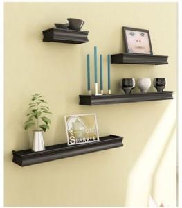 Onlineshoppee Beautiful Black Rectangular Wooden Wall Shelf