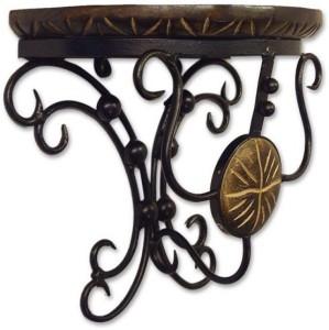 TimberKart D-Shape Antique Type Wooden, Iron Wall Shelf