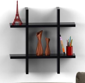 Decor Heart Hash Shape Floating Black Wooden Wall Shelf