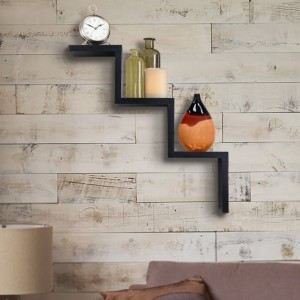 Onlineshoppee Handicraft Black Designer W Shape Wall Shelf Wooden Wall Shelf