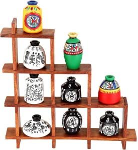 NG Art Ventura Ladder Stand with 9 pots Wooden Wall Shelf