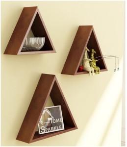Onlineshoppee Home Decor Premium Solid Wood 3 Triangular Shelves - Brown Wooden Wall Shelf