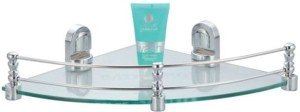 Aqua Fit Aquasoft prime series toughened glass corner shelf with brass fitting Glass Wall Shelf