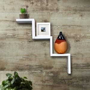 Onlineshoppee Handicraft Black Designer W Shape Wooden Wall Shelf