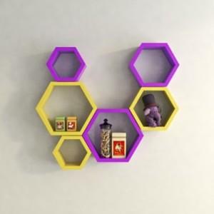 Onlineshoppee Set Of 6 Hexagon shape Designer Storage Shelves - Yellow & Purple Wooden Wall Shelf