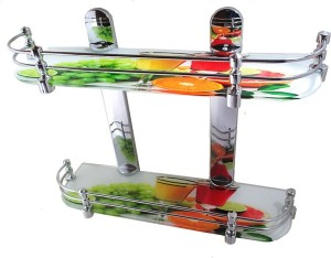 Royal Indian Craft High Definition Multi Color 18 By 5 Inch Multipurpose Double Shelf Glass Wall Shelf