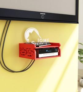 Home Sparkle Set Top Box Holder cum Remote Organizer MDF Wall Shelf