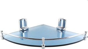 Royal Indian Craft Long Chrome Brackets Energetic Blue 12 by 12 inch Glass Wall Shelf