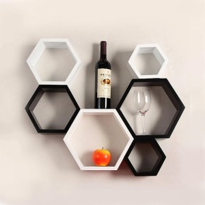DecorNation Hexagon Shelf Wooden Wall Shelf