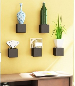 Onlineshoppee Pack of 5 Wooden Wall Shelf