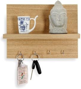 Decorhand 4 Hooks Key holder Wooden Wall Shelf