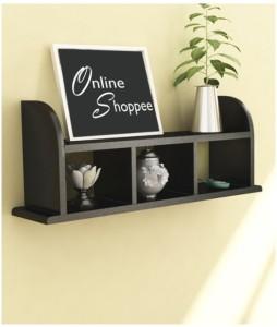 Onlineshoppee Beautiful Black Wooden Wall Shelves/Rack Wooden Wall Shelf