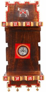 NG Art Ventura Wall Décor Wooden Stand With Two Flaps And Ghungroos at Base (15 Inch) Wooden Wall Shelf