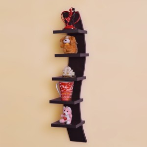 Usha Furniture Curve shape 5 tier Wooden Wall Shelf