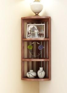 Home Sparkle Stripes Corner Wooden Wall Shelf