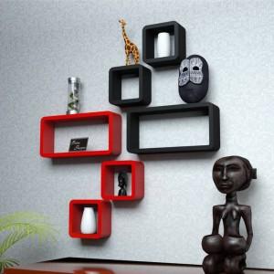 Onlineshoppee Cube Shape Floating MDF Wall Shelf