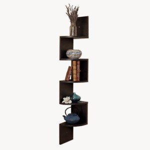 Usha Furniture Corner Mount Wall Shelves Zigzag Shape Rack Wooden Wall Shelf