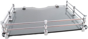 royaL indian craft RIC370 Brass Bracket Royal Black Multi Utility Set Top Box/Speaker Glass Wall Shelf