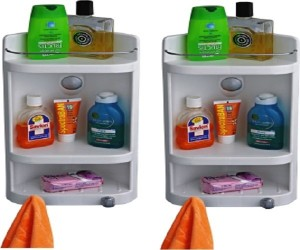 Cipla Caddy Small Corner Cabinet - White (Set of 2) Plastic Wall Shelf