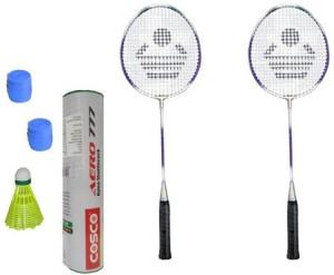 Cosco CB-89 Badminton Kit- ( 2 Racket, 2 Grip, Aero 777 Nylon Shuttle Cock- Pack of 6 ) G5 Strung
