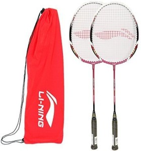 Li-Ning Q5 JR Basic Q series Badminton Racquet White/Red with Grip Pack of 2 G4 Strung