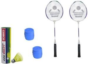Cosco CB-89 Badminton Kit- ( 2 Racket, 2 Grip, Aero 727 Nylon Shuttle Cock- Pack of 6 ) G5 Strung