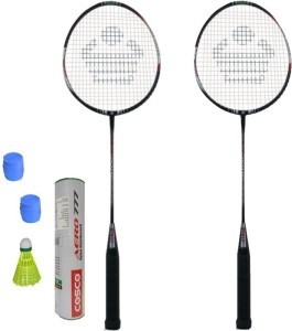 Cosco CBX-410 Badminton Kit- ( 2 Racket, 2 Grip, Aero 777 Nylon Shuttle Cock- Pack of 6 ) G5 Strung