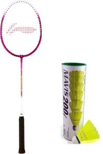 Li-Ning XP 708 Badminton Racket + 1 Mavis 200i Shuttlecock (Pack of 6 pc) G4 Strung