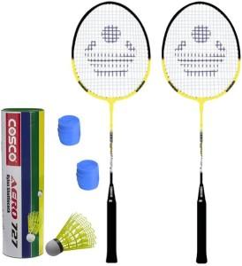 Cosco CB-90 Badminton Kit- ( 2 Racket, 2 Grip, Aero 727 Nylon Shuttle Cock- Pack of 6 ) G5 Strung