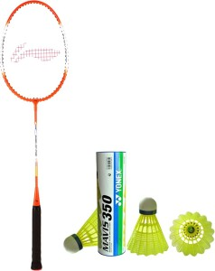 Li-Ning XP 709 Badminton Racket + 1 Mavis 350 Shuttlecock (Pack of 6 pc) G4 Strung