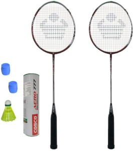 Cosco CBX-450 Badminton Kit- ( 2 Racket, 2 Grip, Aero 777 Nylon Shuttle Cock- Pack of 6 ) G5 Strung