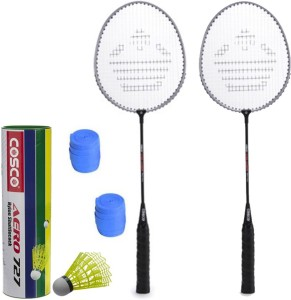 Cosco CB-150E Badminton Kit- ( 2 Racket, 2 Grip, Aero 727 Nylon Shuttle Cock- Pack of 6 ) G5 Strung