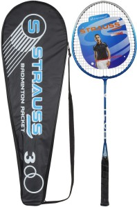 Strauss V-Tech 1012 Badminton Racquet with Full Cover (Black/Blue) G4 Strung