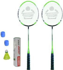 Cosco CBX-555 Badminton Kit- ( 2 Racket, 2 Grip, Aero 777 Nylon Shuttle Cock- Pack of 6 ) G5 Strung