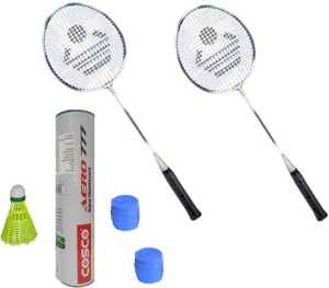 Cosco CB-885 Badminton Kit- ( 2 Racket, 2 Grip, Aero 777 Nylon Shuttle Cock- Pack of 6 ) G5 Strung