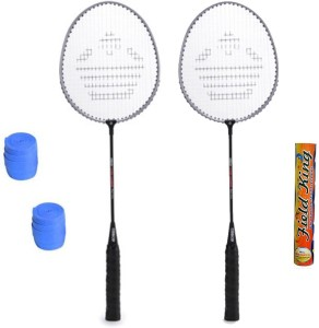 Cosco CB-150E Badminton Kit- ( 2 Racket, 2 Grip and Field King Shuttle Cock- Pack of 10 ) G5 Strung