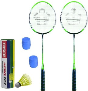 Cosco CBX-555N Badminton Kit- ( 2 Racket, 2 Grip, Aero 727 Nylon Shuttle Cock- Pack of 6 ) G5 Strung