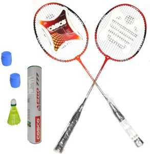 Cosco CB-95 Badminton Kit- ( 2 Racket, 2 Grip, Aero 777 Nylon Shuttle Cock- Pack of 6 ) G5 Strung