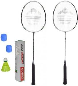 Cosco CBX-222 Badminton Kit- ( 2 Racket, 2 Grip, Aero 777 Nylon Shuttle Cock- Pack of 6 ) G5 Strung