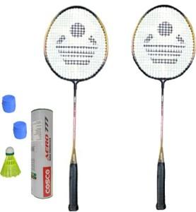 Cosco CBX-320 Badminton Kit- ( 2 Racket, 2 Grip, Aero 777 Nylon Shuttle Cock- Pack of 6 ) G5 Strung