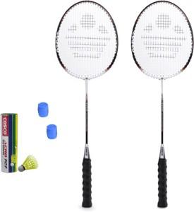 Cosco CB-300 Badminton Kit- ( 2 Racket, 2 grip, Aero 727 Nylon Shuttle Cock- Pack of 6 ) G5 Strung