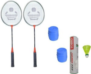 Cosco CB-120 Badminton Kit- ( 2 Racket, 2 Grip, Aero 777 Nylon Shuttle Cock- Pack of 6 ) G5 Strung