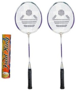 Cosco CB-89 Badminton Racket Pair With Field King Badminton Shuttle Cock ( Pack of 10 )- Badminton Kit G5 Strung