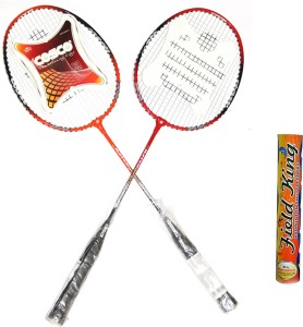 Cosco CB-95 Badminton Racket Pair With Field King Badminton Shuttle Cock ( Pack of 10 )- Badminton Kit G5 Strung