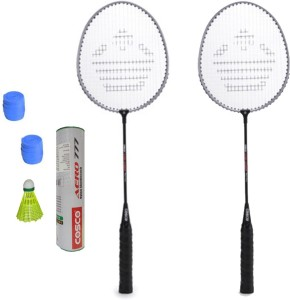 Cosco CB-150E Badminton Kit- ( 2 Racket, 2 Grip, Aero 777 Nylon Shuttle Cock- Pack of 6 ) G5 Strung