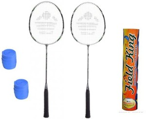 Cosco CBX-222 Badminton Kit- ( 2 Racket, 2 Grip and Field King Shuttle Cock- Pack of 10 ) G5 Strung