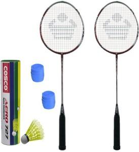 Cosco CBX-450 Badminton Kit- ( 2 Racket, 2 Grip, Aero 727 Nylon Shuttle Cock- Pack of 6 ) G5 Strung