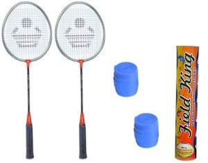 Cosco CB-120 Badminton Kit- ( 2 Racket, 2 Grip and Field King Shuttle Cock- Pack of 10 ) G5 Strung
